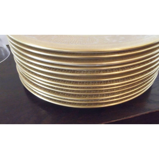 Ceramic Set of 12 Gold Encrusted Floral Service Cabinet Plates For Sale - Image 7 of 9