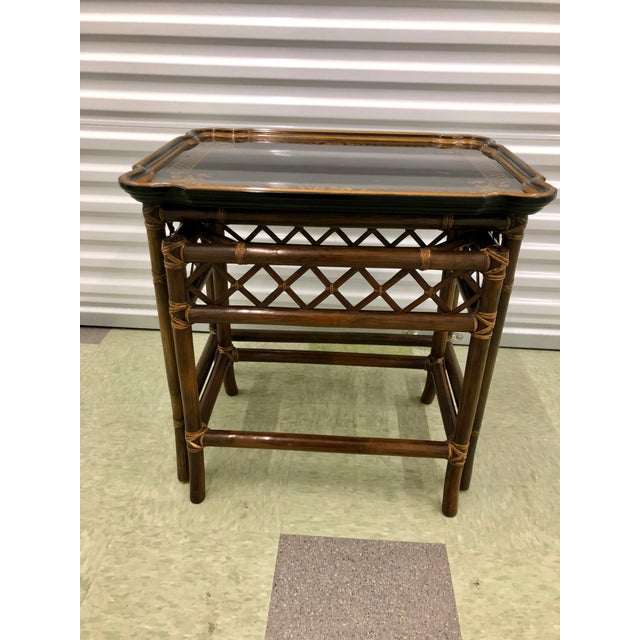 Gold Baker Furniture Chinoiserie Faux Bamboo Nesting Tables - Set of 2 For Sale - Image 8 of 10