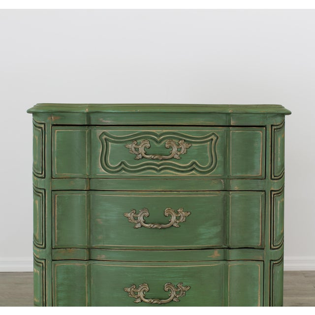 White Pair of French Provincial Nightstands, Mid Century Nightstands, Green Nightstand, Shabby Chic Nightstands For Sale - Image 8 of 11