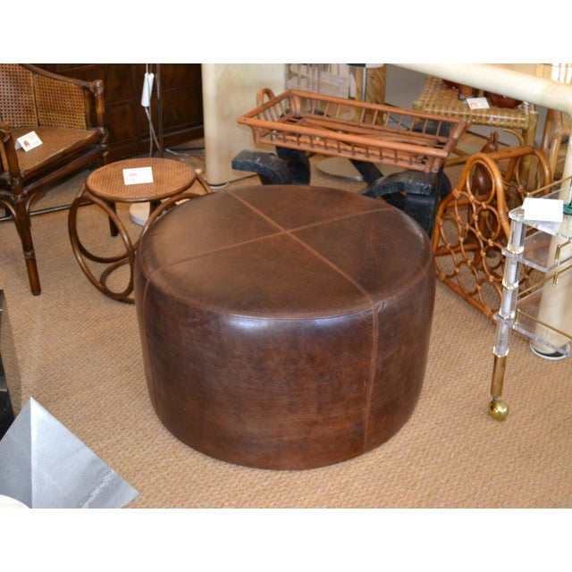 Wood Modern Round Hand-Crafted Leather Ottoman, Pouf in Antique Leather, Contemporary For Sale - Image 7 of 13