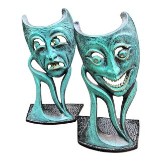 Vintage Mid Century Comedy & Tragedy Israeli Patinated Brass Bookends For Sale