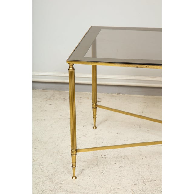 Mid 20th Century Rectangular Brass Coffee/Cocktail Table With Smoked Glass on Stretcher Base For Sale - Image 5 of 11
