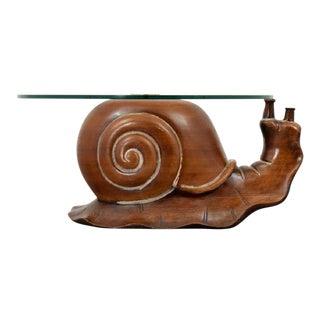 1970s Mid-Century Modern Frederico Armijo Wood & Glass Snail Coffee Table For Sale