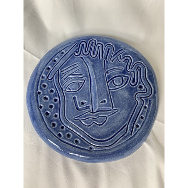 Abstract Expressionism Blue Abstract Art Ceramic Pottery Plate Face Sculpture For Sale - Image 3 of 11