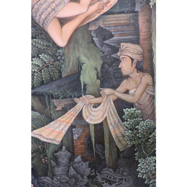 Late 20th Century Balinese Bathing Ladies Painting For Sale - Image 5 of 8