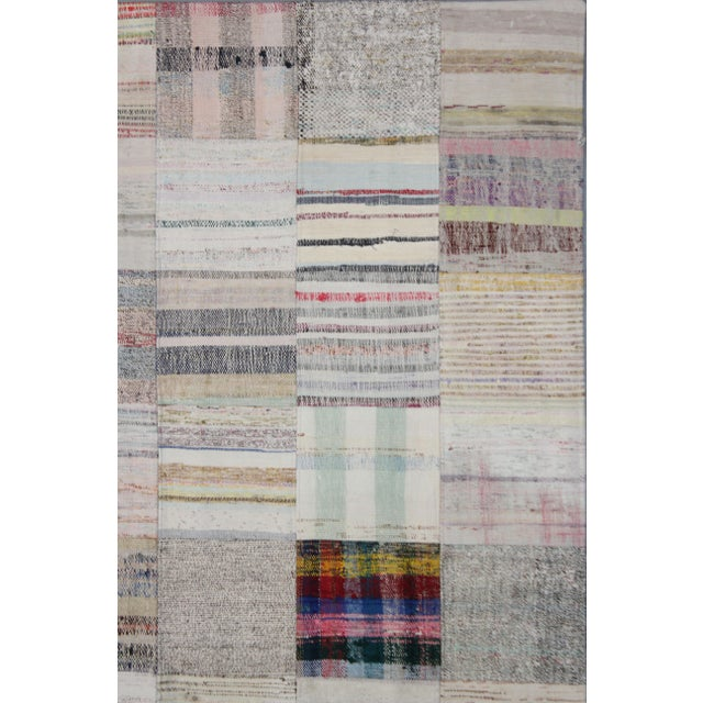 "Hand Knotted Patchwork Rug by Aara Rugs Inc. - 7'9"" X 5'6"" - Image 3 of 3"