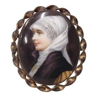 19th C. Miniature Portrait of a Nun on Porcelain W/ Brooch Frame For Sale