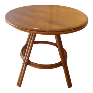 Vintage Heywood Wakefield Round Side Table For Sale