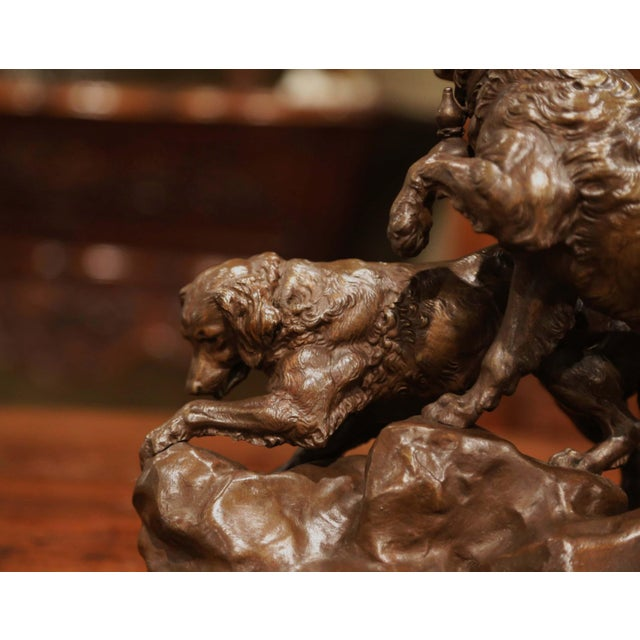 Metal 19th Century French Patinated Bronze Hunting Dogs Sculpture Signed Ch. Valton For Sale - Image 7 of 9