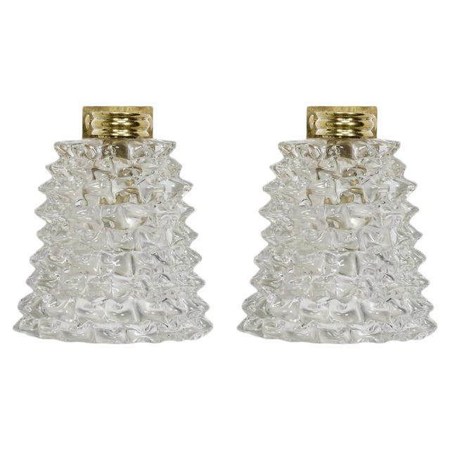 Pair of Mid-Century Murano Bubble Glass and Brass Sconces For Sale