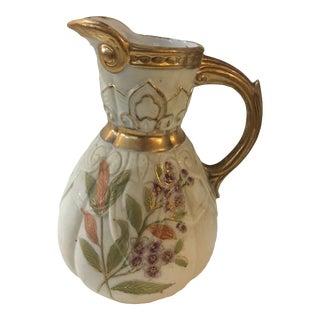 Vintage Floral Porcelain Jug With Gilt Highlights For Sale