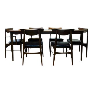 Mid-Century Modern Paul McCobb Stanley Danish Walnut Table & 6 Curved Back Chairs
