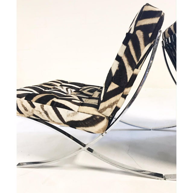 Modern Vintage Barcelona Style Patchwork Zebra Hide Chairs - A Pair For Sale - Image 3 of 7