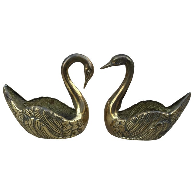 Vintage Brass Swan Planters - A Pair - Image 1 of 11