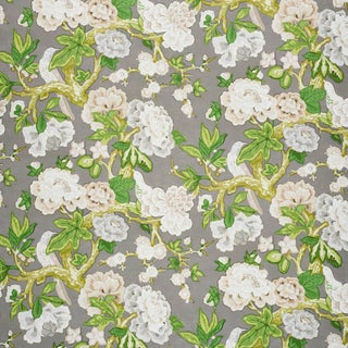 Schumacher x Mary McDonald Bermuda Blossoms Wallpaper in Slate , Sample For Sale