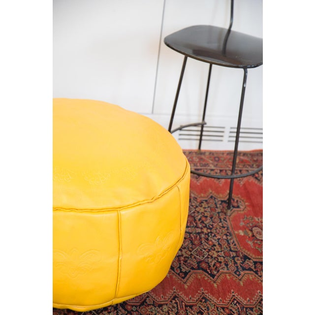 Antique Leather Moroccan Pouf Ottoman, Fly Yellow For Sale - Image 5 of 8