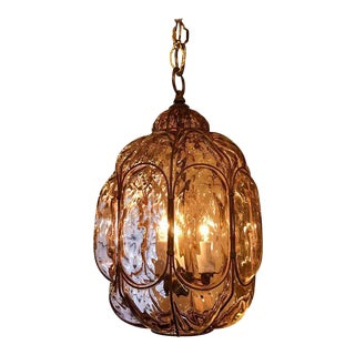 Fredrick Cooper Amethyst Murano Glass and Gilt Metal Lantern