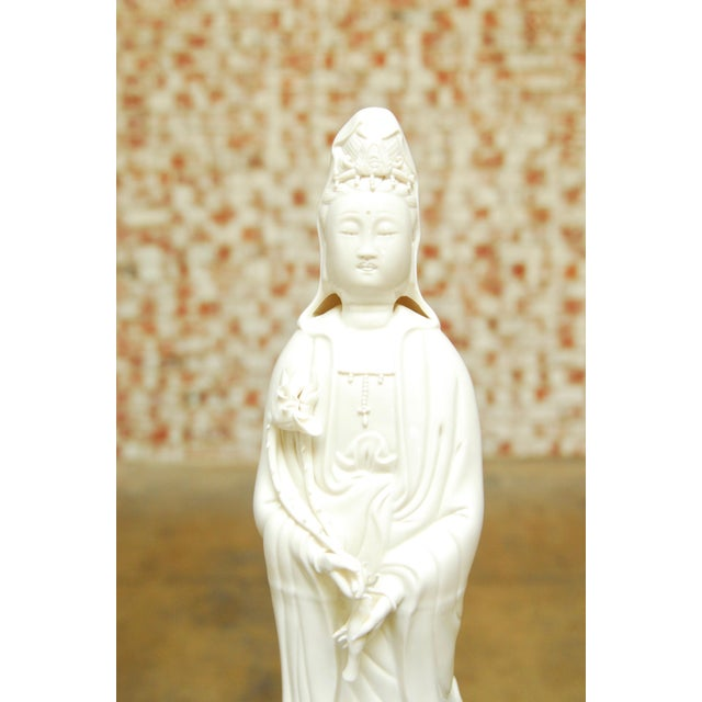 Guan Yin on dragon Buddha statue handmade with traditional porcelain from Dehua, China. This beautiful statue is the...