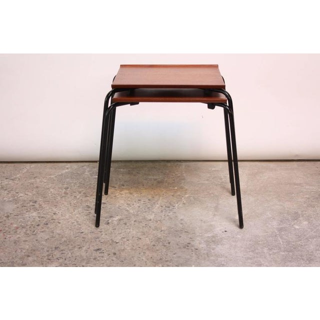 1950s Arne Jacobsen for Fritz Hansen Danish Teak and Metal Stacking Tables - A Pair For Sale - Image 9 of 9