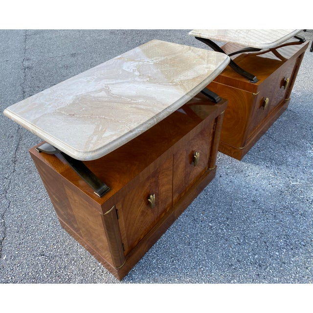 1980s Henredon Burl Nightstand Tables with Granite Tops - a Pair For Sale - Image 10 of 13