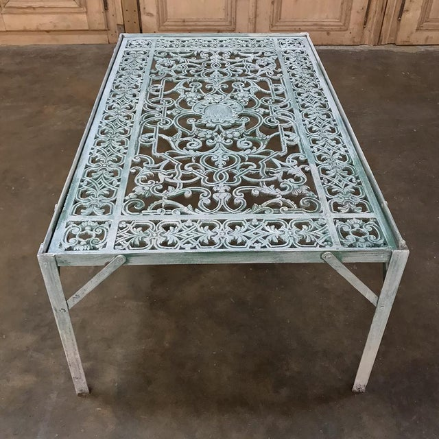 Blue 19th Century Iron Panel Coffee Table For Sale - Image 8 of 12