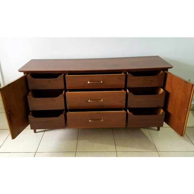 Vintage Walnut Sideboard / Credenza For Sale - Image 4 of 11
