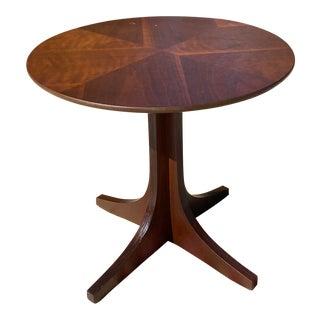 Vintage Mid Century Modern Kroehler Small Round Walnut Side Table For Sale