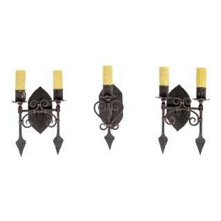 1920s Spanish Revival Metal Candlestick Sconces - Set of 3 For Sale