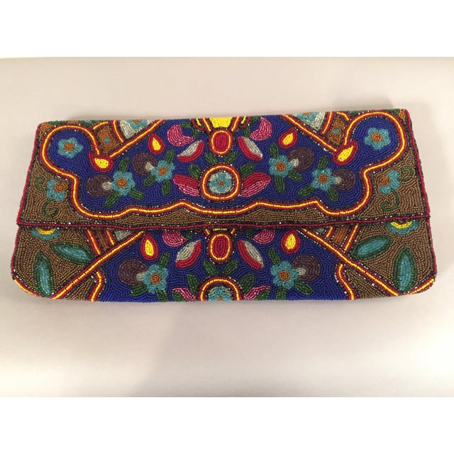 Glass HUge 1930's Art Deco Beaded Clutch Bag Oversized Pristine Condition For Sale - Image 7 of 7