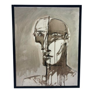 Face in Black & White Original Adam Henderson Painting For Sale
