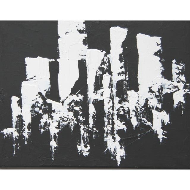 Abstract Black and White Painting by C. Plowden - Image 1 of 2