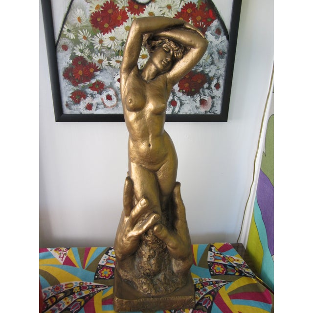 Up for grabs (no pun intended) is this amazing vintage signed Mid-Century era 1968 W.T.Marotta heavy plaster nude w/hands...