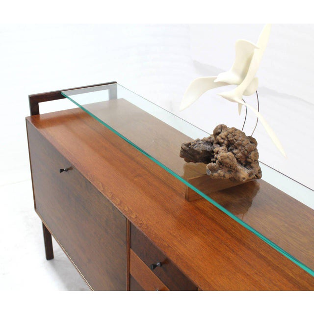 Multi Drawer Drop Front Bar Compartment Glass Shelf Top Long Dresser Checker For Sale In New York - Image 6 of 9