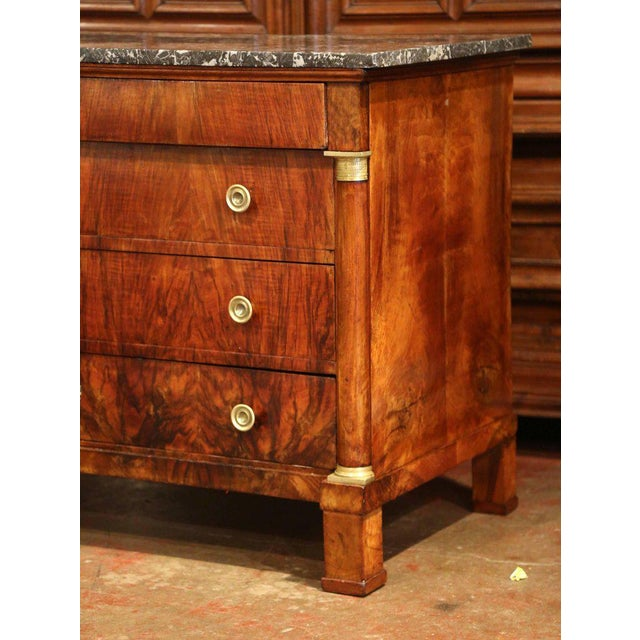 Mid 19th Century 19th Century French Empire Walnut Four-Drawer Commode With Black & White Marble For Sale - Image 5 of 8