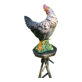 Vintage Large Italian Crafted Ceramic Rooster For Sale