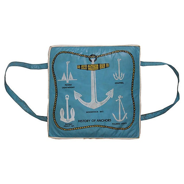 History of Anchors Vintage Boat Cushion For Sale - Image 6 of 6