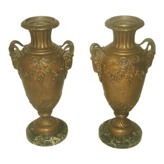 19th-C. Italian Bronze & Marble Urns - A Pair