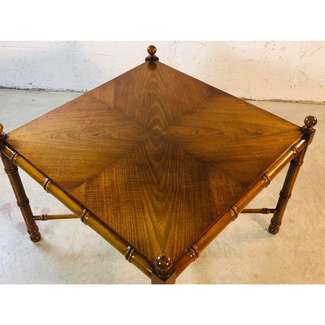 1960s Faux Bamboo Style Square Coffee Table For Sale - Image 4 of 13
