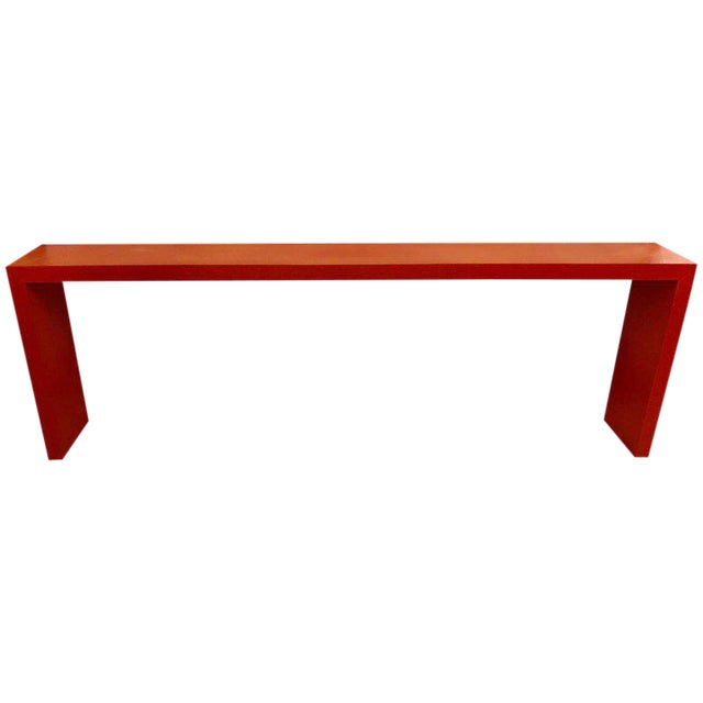 Faux Paint Decorated Pier Console or Wooden Bench in Dark Orange Paint For Sale