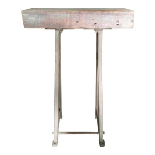 Industrial Rustic Accent Table For Sale