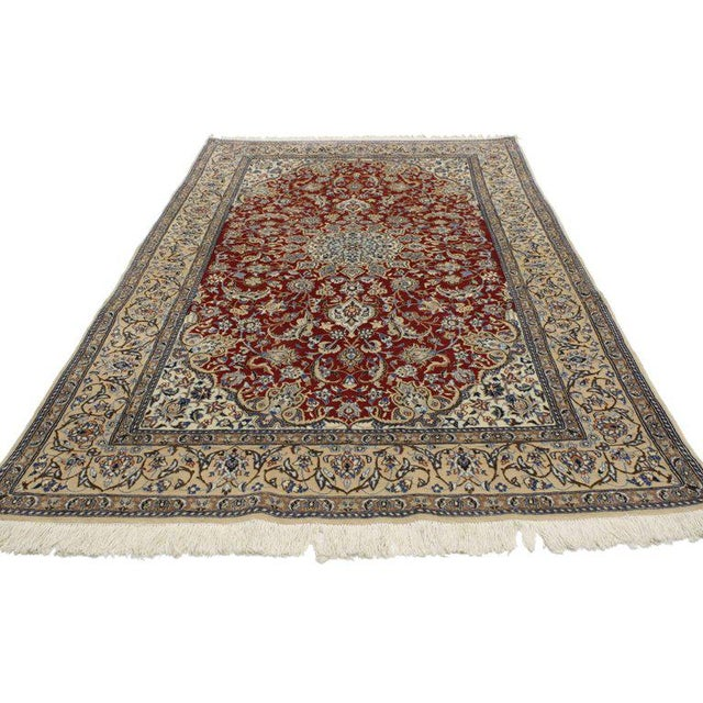 76998 Vintage Persian Nain Rug with Traditional Style. This hand-knotted wool vintage Persian Nain rug with traditional...