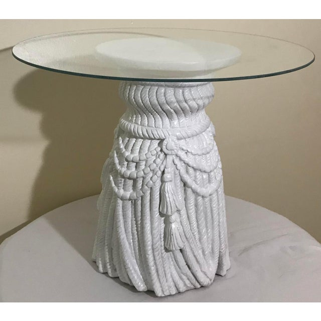 Late 20th Century Hollywood Regency Tassel Fringe Rope Side Tables in the Manner of Dickinson – a Pair For Sale - Image 5 of 7