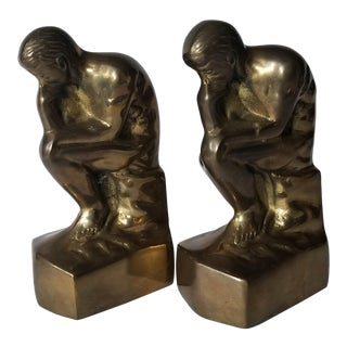 1970s Vintage The Thinker Brass Bookends - A Pair For Sale