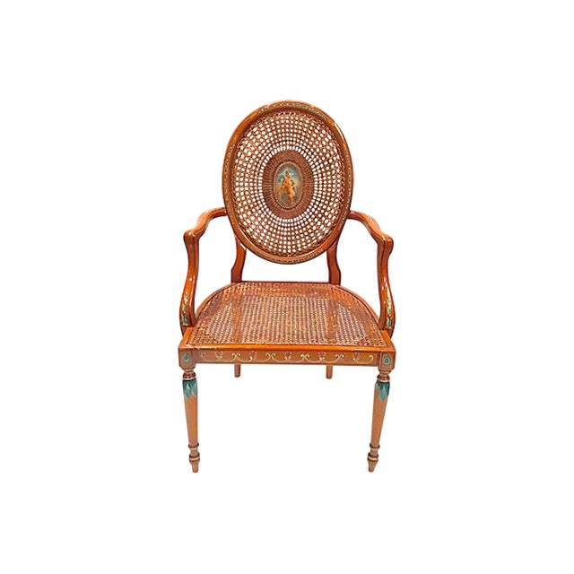 Early 20th Century Vintage Cherub Medallion Hand-Painted Armchair For Sale