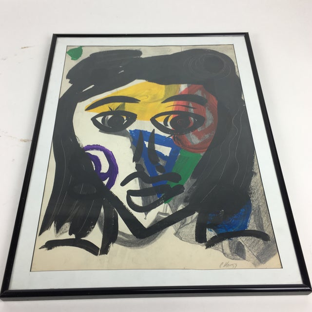 Glass Peter Keil 1959 Colorful Face Abstract Painting For Sale - Image 7 of 8