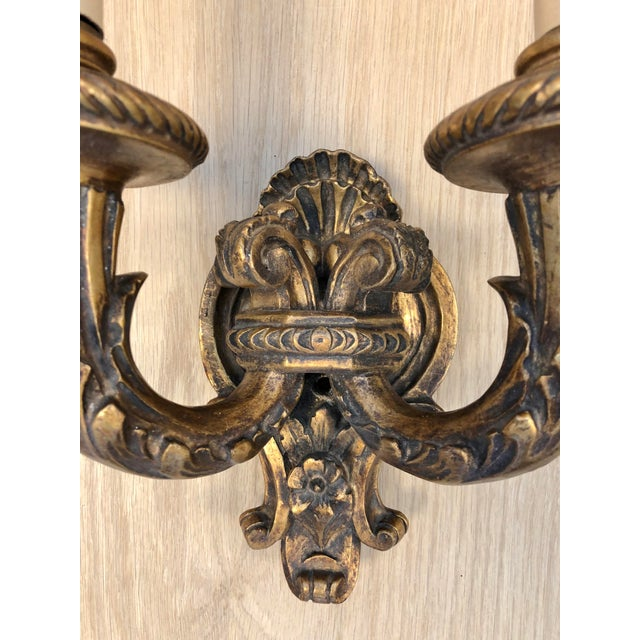 1920s 1920s Traditional Wood Carved Two Arms Antique Gilded Wall Sconces - a Pair For Sale - Image 5 of 6