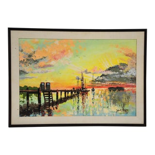 """Original Acrylic Painting """"Yellow Sunset 2 Pump"""" by Jules E. Scheffer For Sale"""