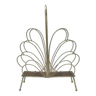 Hollywood Regency Style Brass Magazine Rack For Sale