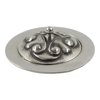 French Alice and Eugene Chanal Art Nouveau Dinanderie Polished Pewter Box For Sale