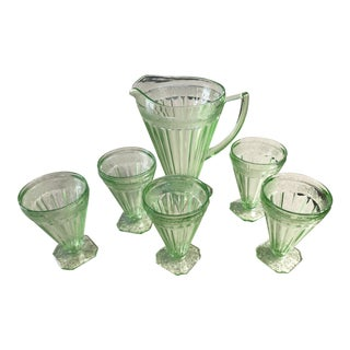 1940s Vintage Green Vaseline Uranium Glassware - Set of 6 For Sale